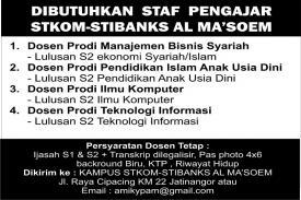 Yayasan Pendidikan Al Ma'soem Bandung Membutuhkan Staf Pengajar untuk STIKOM-STIBANKS Al Ma'soem